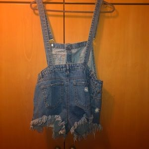 Distressed Overall Shorts (Size M)